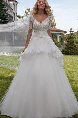 Outdoor Duchesse-Linie Normale Taille Brautkleid mit Bordüre mit Kurzen Ärmeln