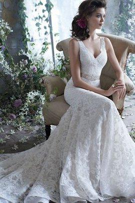 Meerjungfrau Spitze Sweep Zug Ärmellos Tiefer V-Ausschnitt Brautkleid