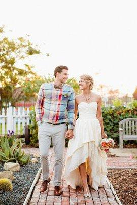 A-Line Herz-Ausschnitt Romantisches Brautkleid aus Chiffon ohne Ärmeln