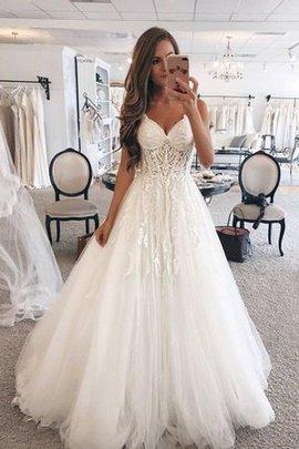 Normale Taille Ärmelloses Perfekt A-Line Tüll Herz-Ausschnitt Bodenlanges Brautkleid