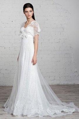 Kurze Ärmeln Bodenlanges Bescheidenes Konservatives Brautkleid mit Schleife