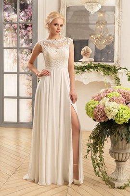 Enganliegendes Chiffon Bodenlanges Brautkleid mit Applike mit Gekappten Ärmeln