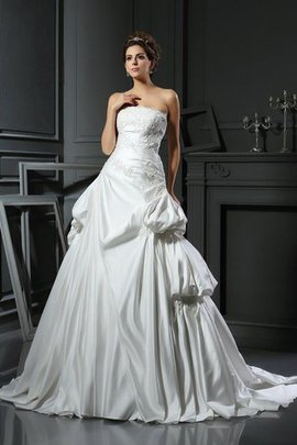 Empire Taille Duchesse-Linie Satin Brautkleid mit Rücken Schnürung mit Applikation