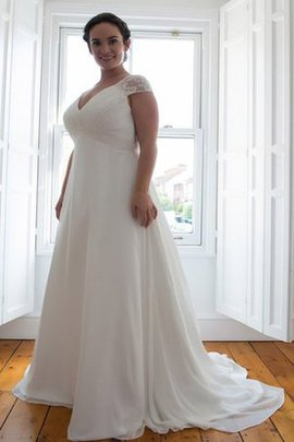 Sweep Train Schick Schlichtes Brautkleid mit Applike mit Gekappten Ärmeln