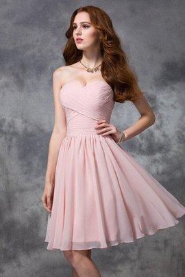 Reißverschluss Chiffon Normale Taille Ärmelloses Mini Brautjungfernkleid