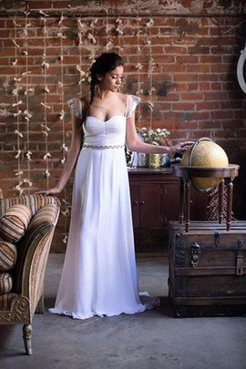 A-Line Normale Taille Reißverschluss Bodenlanges Brautkleid mit Gekappten Ärmeln
