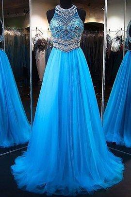 A-Linie Perlenbesetztes Empire Taille Prinzessin Abendkleid ohne Ärmeln