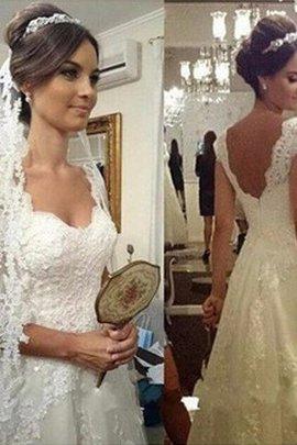 Prinzessin Herz-Ausschnitt A-Line Bodenlanges Brautkleid mit Bordüre