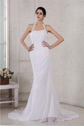 Rückenfreies Perlenbesetztes Empire Taille Brautkleid aus Chiffon ohne Ärmeln