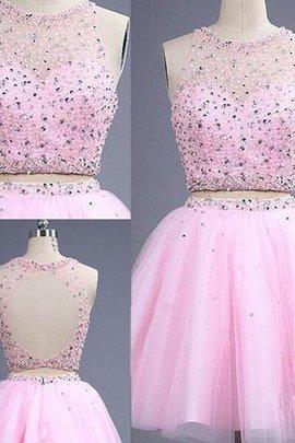 A Linie Prinzessin Schaufel-Ausschnitt Zwei Stück Normale Taille Abiballkleid