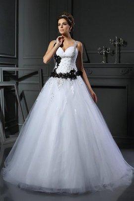 Breiter Träger Ärmelloses Perlenbesetztes Brautkleid mit Applikation aus Tüll