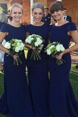 Normale Taille Enganliegendes Kurze Ärmeln Bodenlanges Brautjungfernkleid aus Satin