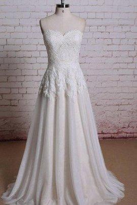 Spitze Beach Stil Ärmellos Plissiertes Herz-Ausschnitt Brautkleid