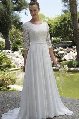 Strand Juwel Ausschnitt Prächtiges Brautkleid aus Chiffon mit Sweep Zug