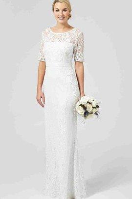 Enganliegendes Halbe Ärmeln Schaufel-Ausschnitt Plissiertes Schlichtes Brautkleid
