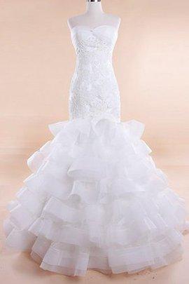 Spitze Ärmelloses Bodenlanges Sittsames Brautkleid mit Rüschen