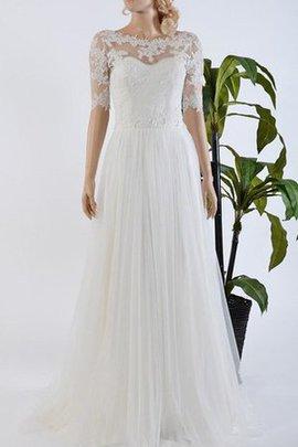 Plissiertes Halbe Ärmeln Spitze Brautkleid mit Schmetterlingsknoten mit Bordüre
