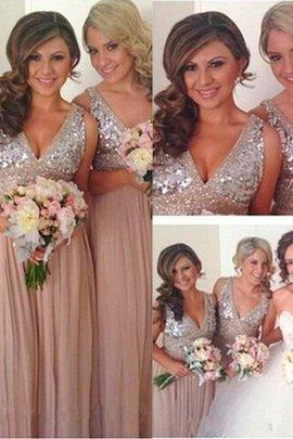 V-Ausschnitt A-Linie Ärmelloses Bodenlanges Brautjungfernkleid aus Chiffon