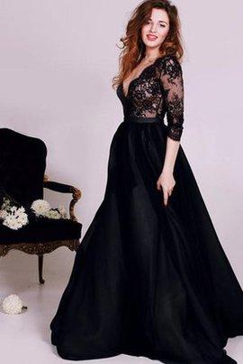 3 /4 Länge Ärmeln Ärmellos V-Ausschnitt Abendkleid mit Schleife mit Bordüre