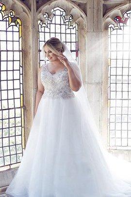 Ärmelloses Extravagantes Bodenlanges Konservatives Brautkleid mit Perlen