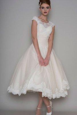 Tüll Modern Informelles Brautkleid mit Gekappten Ärmeln mit Schaufel Ausschnitt