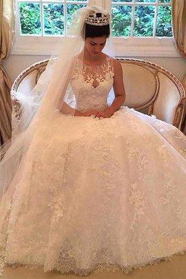 Ärmellos A-Line Prinzessin Normale Taille Brautkleid mit Applikation