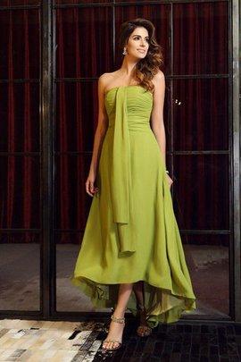 Empire Taille Trägerlos a linie Hoch Niedrig Brautjungfernkleid mit Reißverschluss