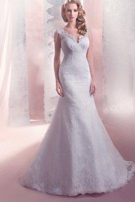 Meerjungfrau Ärmelloses Anständiges Brautkleid mit Bordüre mit Natürlicher Taille
