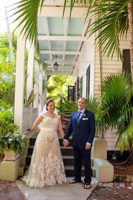 A-Line Herz-Ausschnitt Romantisches Brautkleid mit Gekappten Ärmeln mit Schleife