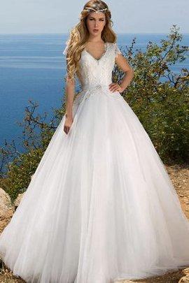 Strand V-Ausschnitt Sittsames Brautkleid mit Schmetterlingsknoten mit Bordüre