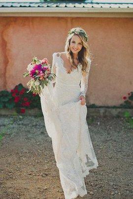 Spitze Schlüsselloch Rücken Lange Ärmeln Brautkleid mit Bordüre mit Gericht Schleppe