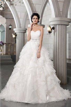 Ärmelloses Perlenbesetztes Duchesse-Linie Sittsames Brautkleid aus Organza