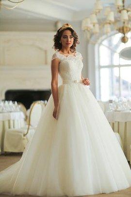Tüll Duchesse-Linie Normale Taille Brautkleid mit Bordüre mit Gekappten Ärmeln