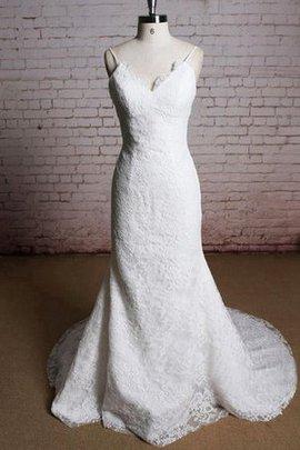 Spitze Ärmelloses V-Ausschnitt Reißverschluss Bodenlanges Brautkleid