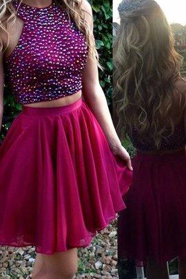 Normale Taille Schaufel-Ausschnitt Prinzessin Zwei Stück Abiballkleid mit Perlen