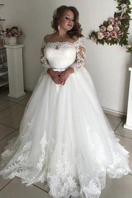 Prinzessin Sweep Zug Faszinierend Normale Taille Tüll Lange Ärmeln A-Linie Brautkleid