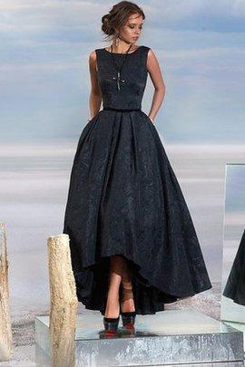 Hoher Kragen Natürliche Taile Ärmellos Wadenlanges Abendkleid aus Spitze