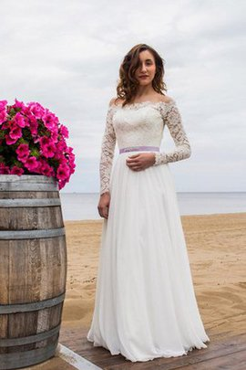 Lange Ärmeln Bescheidenes Elegantes Brautkleid mit Gürtel mit Applikation
