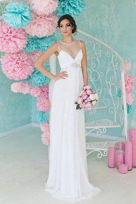 Ärmellos Schaufel-Ausschnitt Sweep Zug Perlenbesetztes Bodenlanges Brautkleid