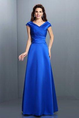 A-Linie Satin Normale Taille Ärmellos Abendkleid mit V-Ausschnitt