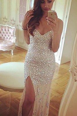 Normale Taille Herz-Ausschnitt Ärmelloses Chiffon Perlenbesetztes Abendkleid