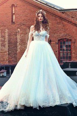 Schulterfrei Ärmellos Kurzes Brautkleid mit Applike mit Plissierungen