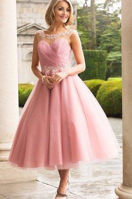 Ärmellos Tüll Wadenlanges Brautkleid mit Gekappten Ärmeln mit Applike