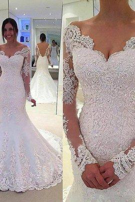Gericht Schleppe Langärmeliges Tüll Meerjungfrau Stil Brautkleid mit Bordüre