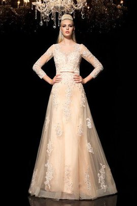 A-Line Prinzessin Langärmeliges Bodenlanges Brautkleid mit Applikation