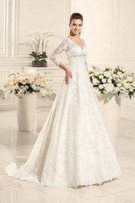 Spitze Lange Ärmeln Herz-Ausschnitt Elegantes Tiefer V-Ausschnitt Brautkleid