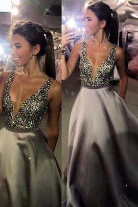 Ärmelloses Sweep Train Normale Taille V-Ausschnitt Abendkleid mit Perlen