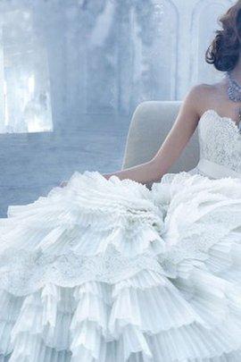 Rückenfreies Tiefe Taile Brautkleid mit Schleife mit Bordüre