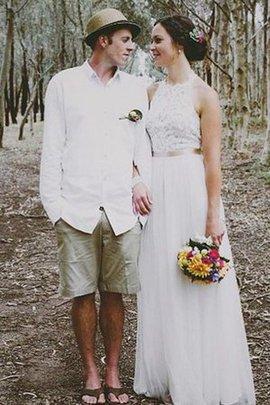 Spitze Hoher Kragen Ärmelloses Luxus Brautkleid mit Juwel Ausschnitt