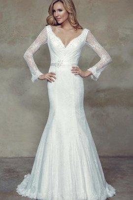 Spitze V-Ausschnitt Lange Ärmeln Sittsames Brautkleid mit Bordüre